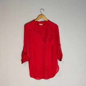 Red Quarter-sleeve Blouse - small